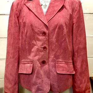East 5th Avenue Pink Suede Leather Coat